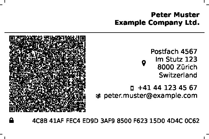 Example: Businesscard of Peter Muster from Zürich